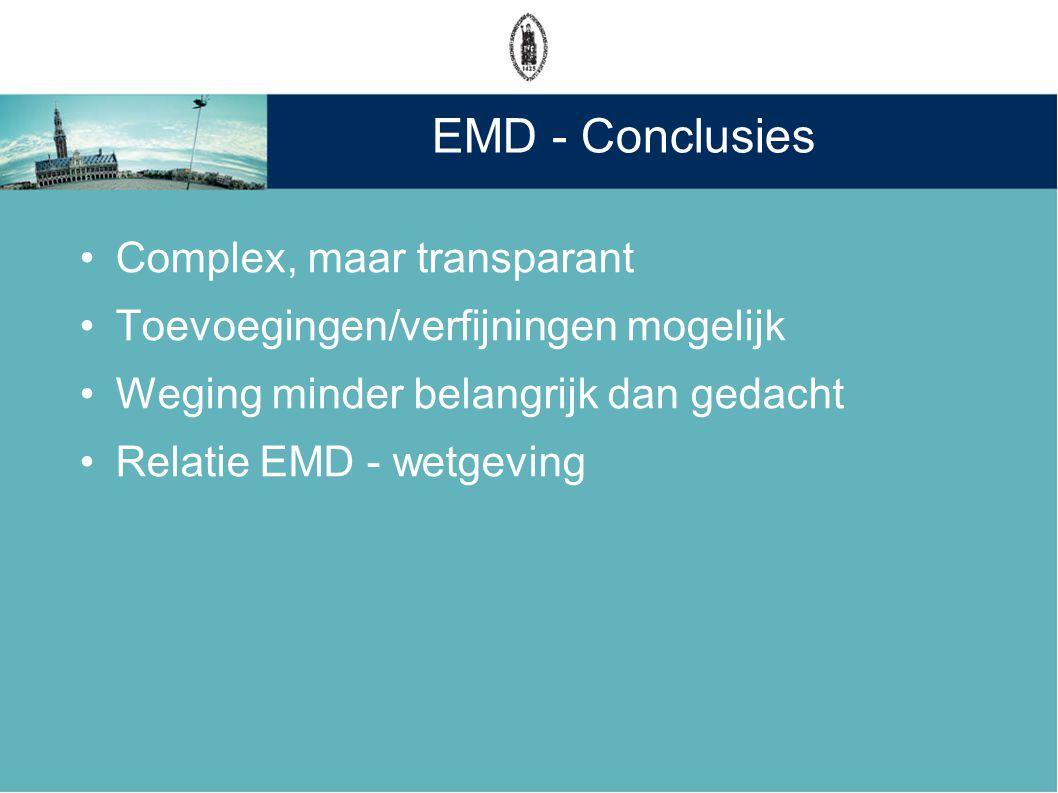 EMD - Conclusies Complex, maar transparant Toevoegingen/verfijningen mogelijk Weging minder belangrijk dan gedacht Relatie EMD - wetgeving