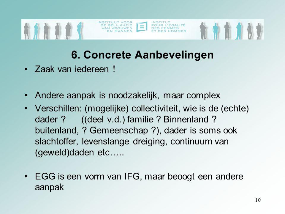10 6. Concrete Aanbevelingen Zaak van iedereen ! Andere aanpak is noodzakelijk, maar complex Verschillen: (mogelijke) collectiviteit, wie is de (echte