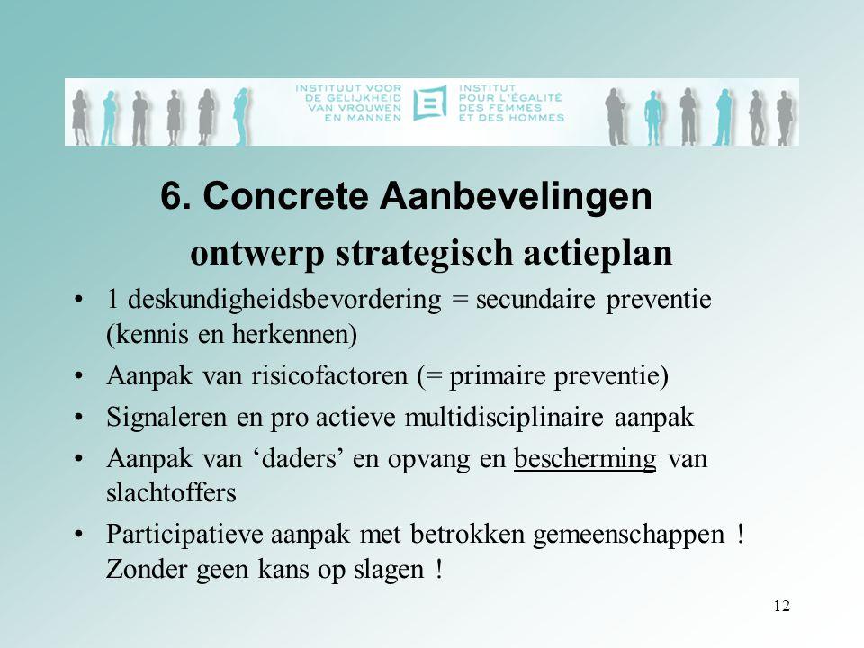 6. Concrete Aanbevelingen ontwerp strategisch actieplan 1 deskundigheidsbevordering = secundaire preventie (kennis en herkennen) Aanpak van risicofact