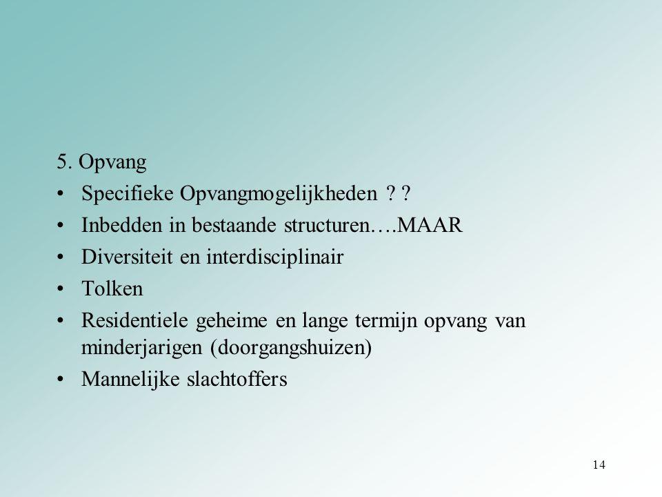 5. Opvang Specifieke Opvangmogelijkheden ? ? Inbedden in bestaande structuren….MAAR Diversiteit en interdisciplinair Tolken Residentiele geheime en la