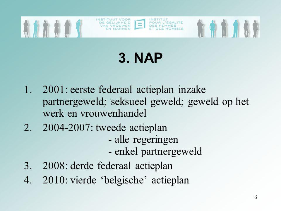 6 3. NAP 1.2001: eerste federaal actieplan inzake partnergeweld; seksueel geweld; geweld op het werk en vrouwenhandel 2.2004-2007: tweede actieplan -