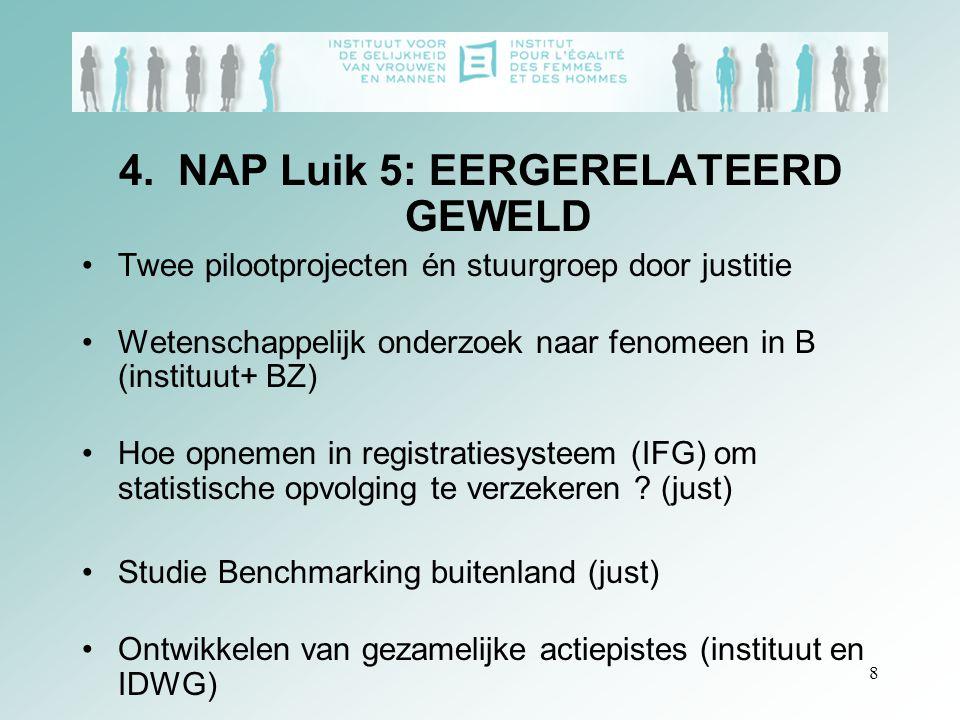8 4. NAP Luik 5: EERGERELATEERD GEWELD Twee pilootprojecten én stuurgroep door justitie Wetenschappelijk onderzoek naar fenomeen in B (instituut+ BZ)