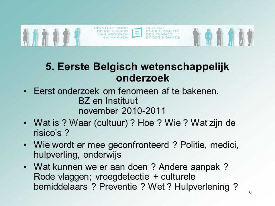 9 5. Eerste Belgisch wetenschappelijk onderzoek Eerst onderzoek om fenomeen af te bakenen. BZ en Instituut november 2010-2011 Wat is ? Waar (cultuur)
