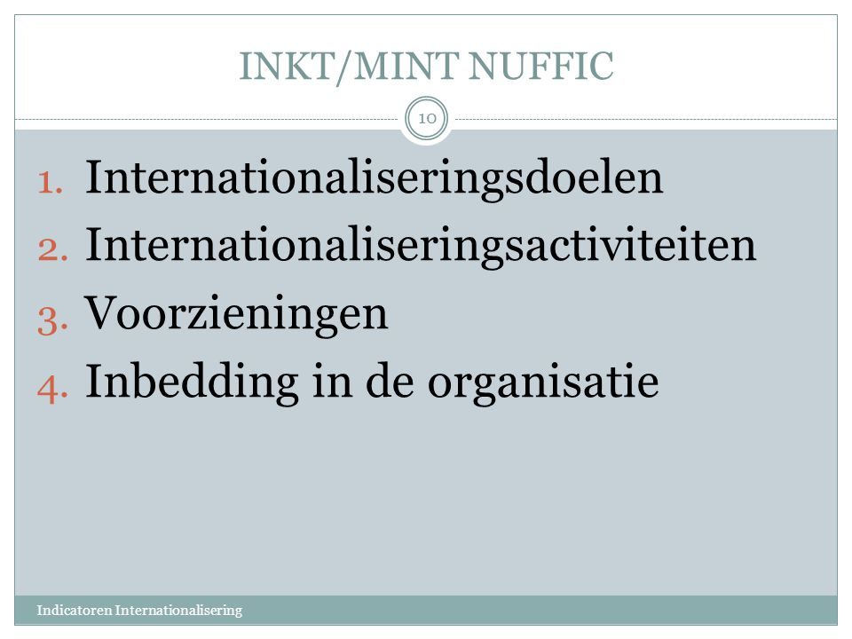 INKT/MINT NUFFIC 1. Internationaliseringsdoelen 2. Internationaliseringsactiviteiten 3. Voorzieningen 4. Inbedding in de organisatie Indicatoren Inter
