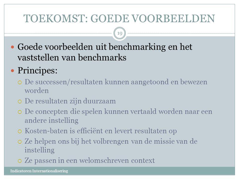 TOEKOMST: GOEDE VOORBEELDEN Goede voorbeelden uit benchmarking en het vaststellen van benchmarks Principes:  De successen/resultaten kunnen aangetoon