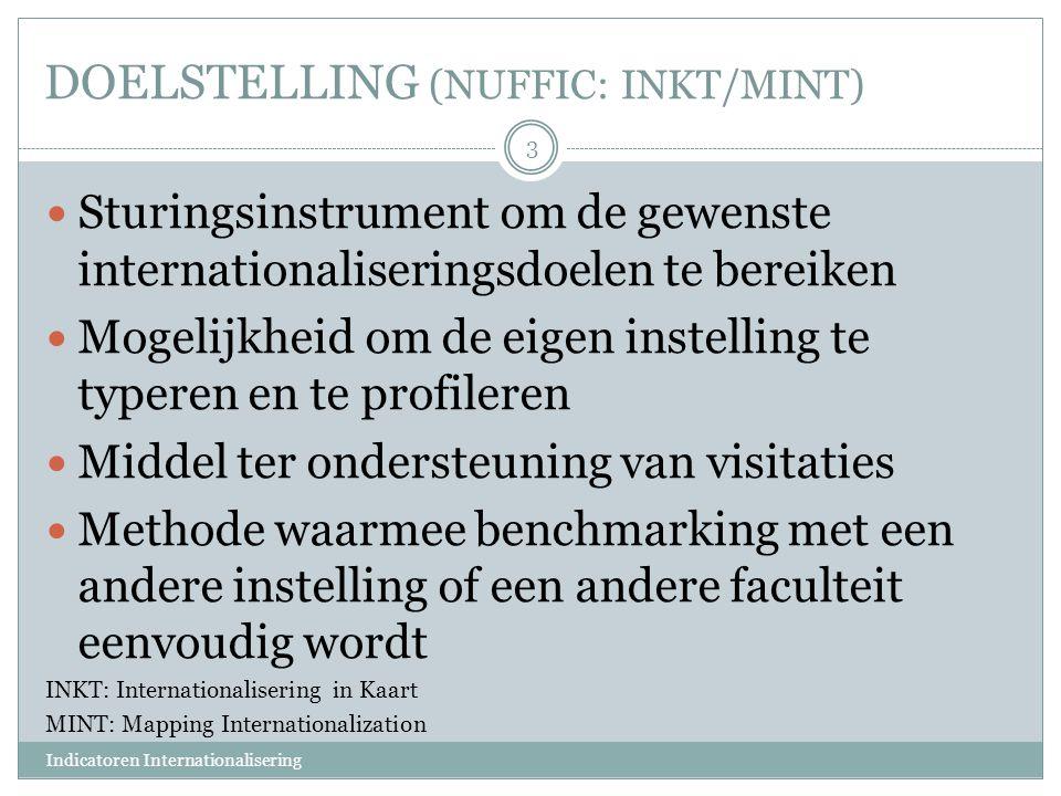 DOELSTELLING (NUFFIC: INKT/MINT) Sturingsinstrument om de gewenste internationaliseringsdoelen te bereiken Mogelijkheid om de eigen instelling te type