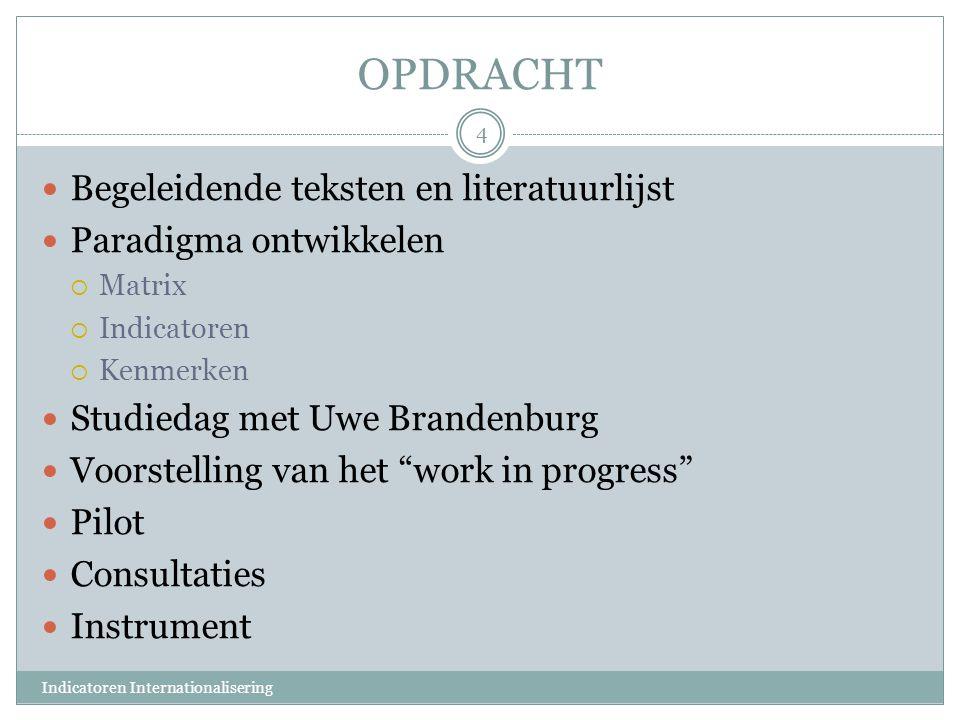 OPDRACHT Begeleidende teksten en literatuurlijst Paradigma ontwikkelen  Matrix  Indicatoren  Kenmerken Studiedag met Uwe Brandenburg Voorstelling v