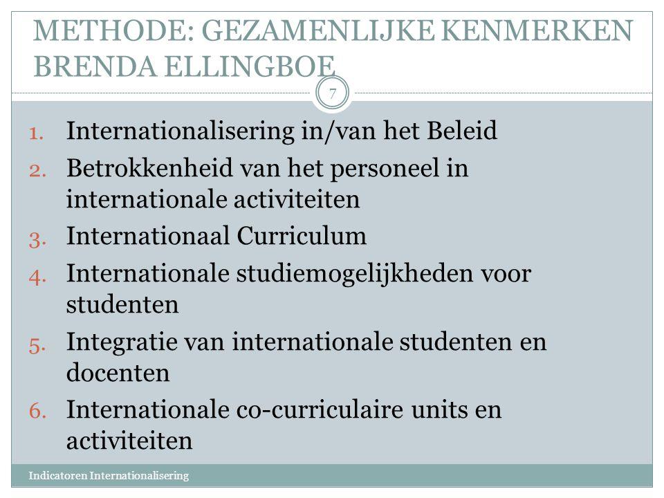 METHODE: GEZAMENLIJKE KENMERKEN BRENDA ELLINGBOE 1. Internationalisering in/van het Beleid 2. Betrokkenheid van het personeel in internationale activi