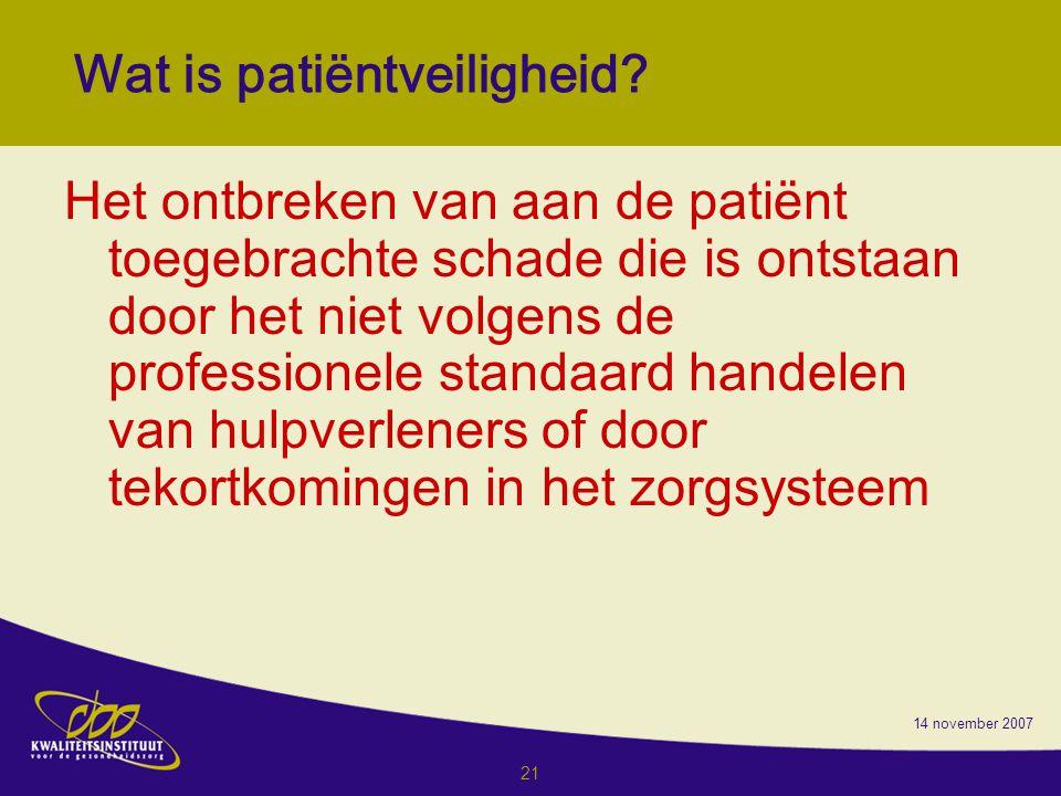 14 november 2007 21 Wat is patiëntveiligheid.