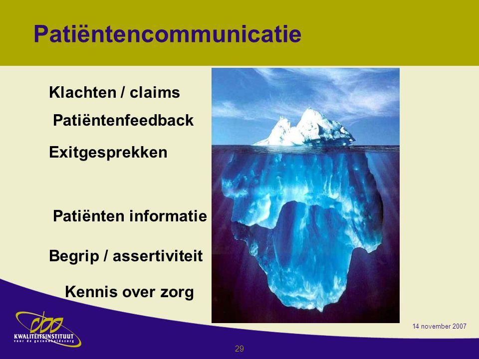 14 november 2007 29 Patiëntencommunicatie Klachten / claims Patiëntenfeedback Exitgesprekken Patiënten informatie Begrip / assertiviteit Kennis over zorg