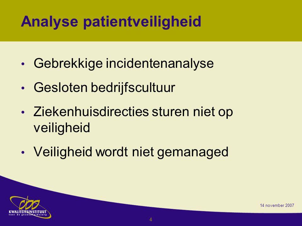 4 Analyse patientveiligheid Gebrekkige incidentenanalyse Gesloten bedrijfscultuur Ziekenhuisdirecties sturen niet op veiligheid Veiligheid wordt niet gemanaged