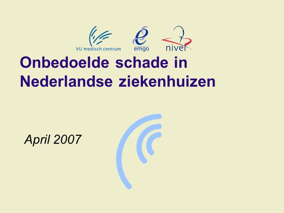 Onbedoelde schade in Nederlandse ziekenhuizen April 2007