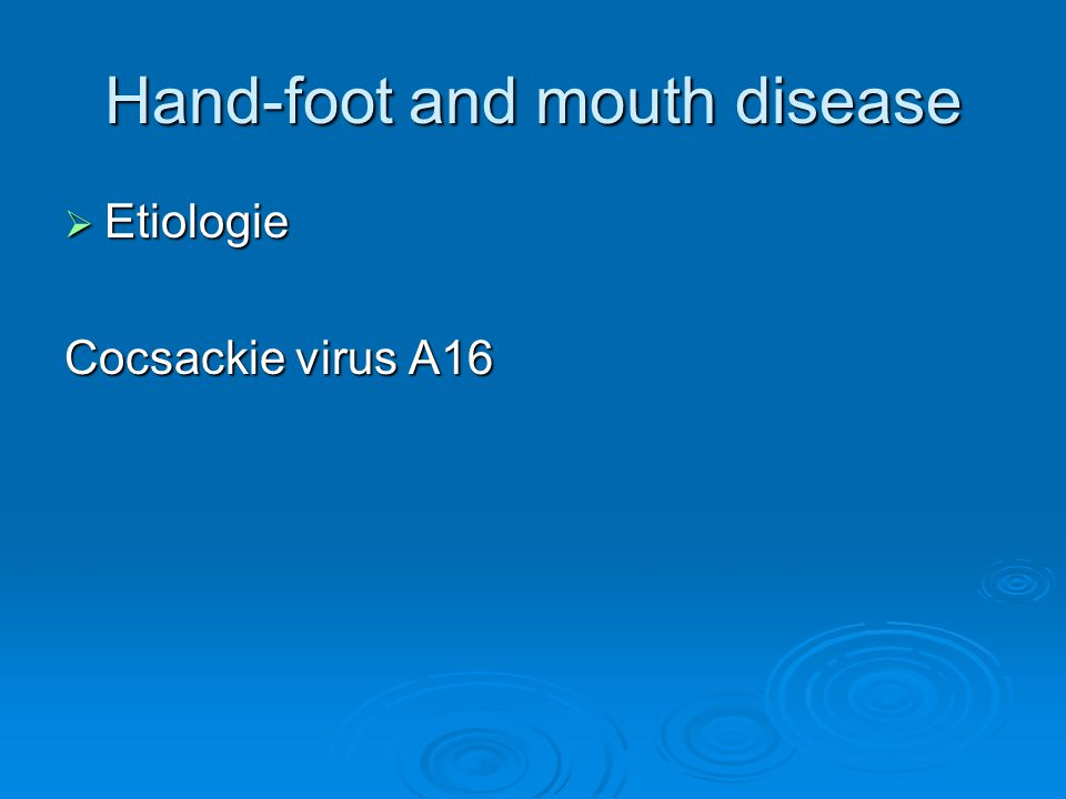 Hand-foot and mouth disease  Etiologie Cocsackie virus A16