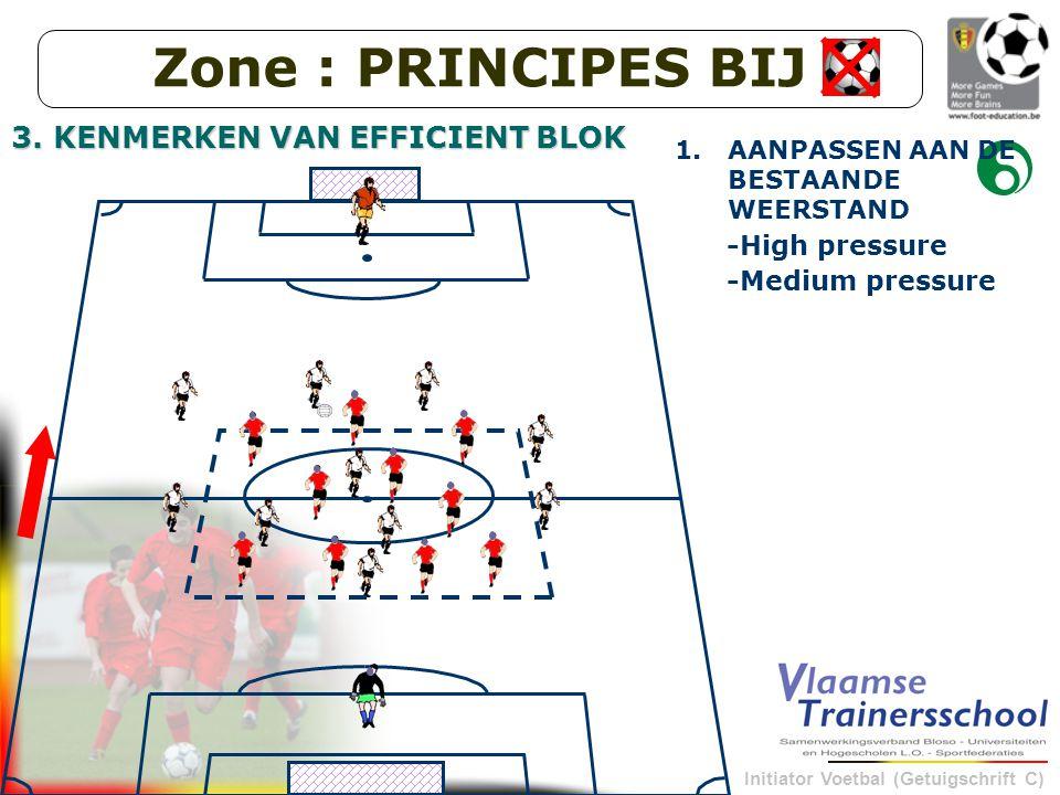 Initiator Voetbal (Getuigschrift C) -Medium pressure 1.AANPASSEN AAN DE BESTAANDE WEERSTAND -High pressure Zone : PRINCIPES BIJ 3.
