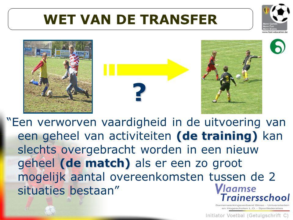 Initiator Voetbal (Getuigschrift C) (de training) (de match) Een verworven vaardigheid in de uitvoering van een geheel van activiteiten (de training) kan slechts overgebracht worden in een nieuw geheel (de match) als er een zo groot mogelijk aantal overeenkomsten tussen de 2 situaties bestaan .