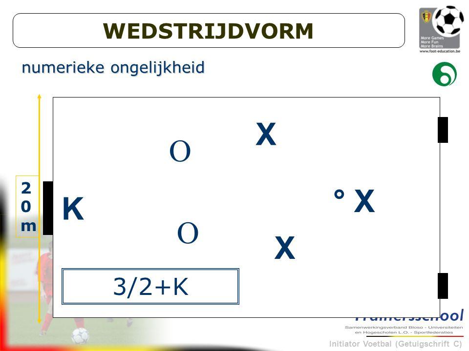 Initiator Voetbal (Getuigschrift C) K X X ° X O O 30m 20m20m 3/2+K numerieke ongelijkheid WEDSTRIJDVORM