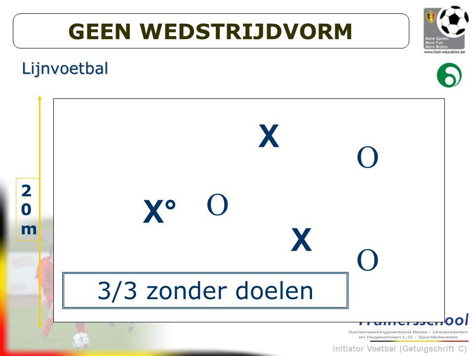 Initiator Voetbal (Getuigschrift C) X X X° O O O 30m 20m20m 3/3 zonder doelen Lijnvoetbal GEEN WEDSTRIJDVORM