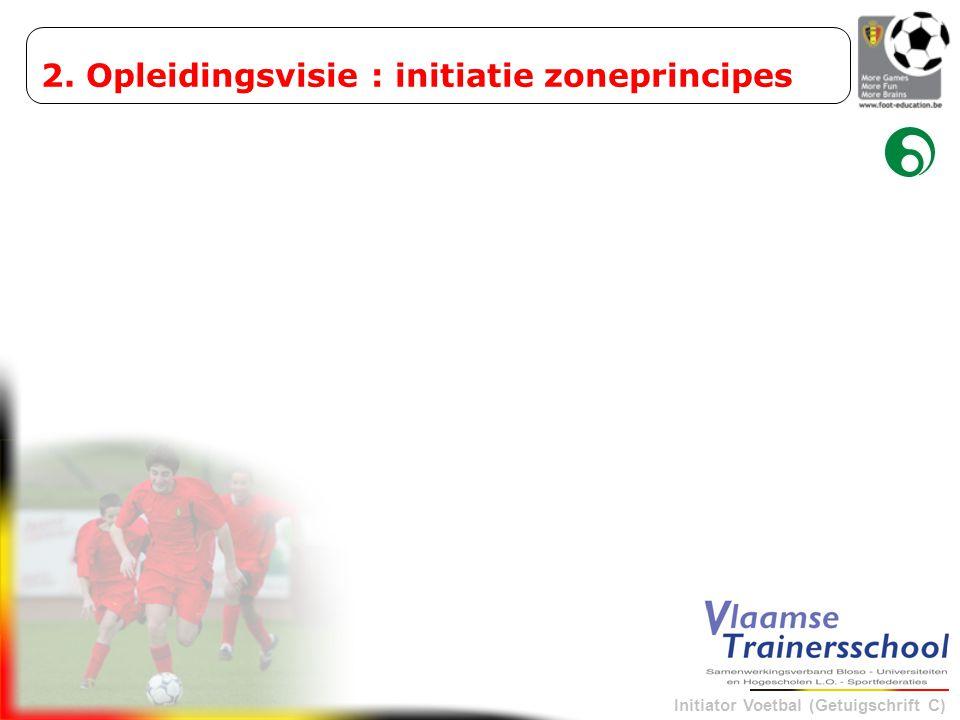 Initiator Voetbal (Getuigschrift C) 1De eigen speelruimte vergroten 2Rationele bezetting van zones: aanspeelbaarheid Zone: PRINCIPES BIJ