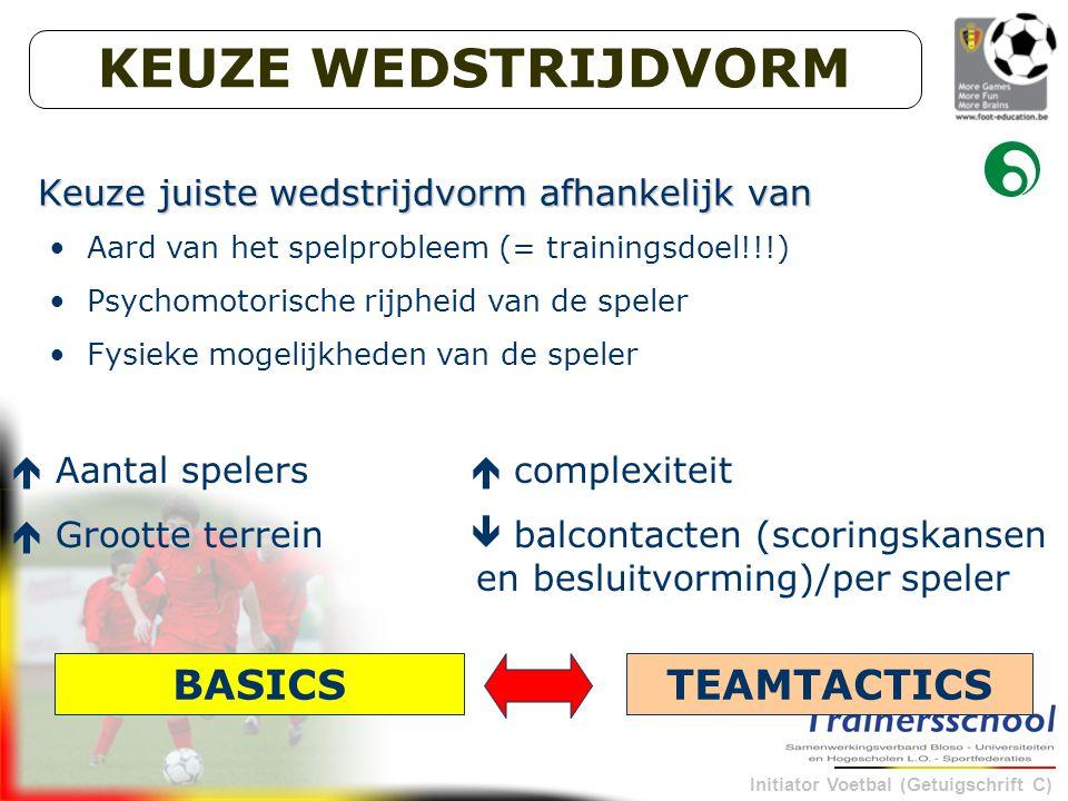 Initiator Voetbal (Getuigschrift C) Aard van het spelprobleem (= trainingsdoel!!!) Psychomotorische rijpheid van de speler Fysieke mogelijkheden van de speler Keuze juiste wedstrijdvorm afhankelijk van  Aantal spelers  complexiteit  Grootte terrein  balcontacten (scoringskansen en besluitvorming)/per speler BASICSTEAMTACTICS KEUZE WEDSTRIJDVORM