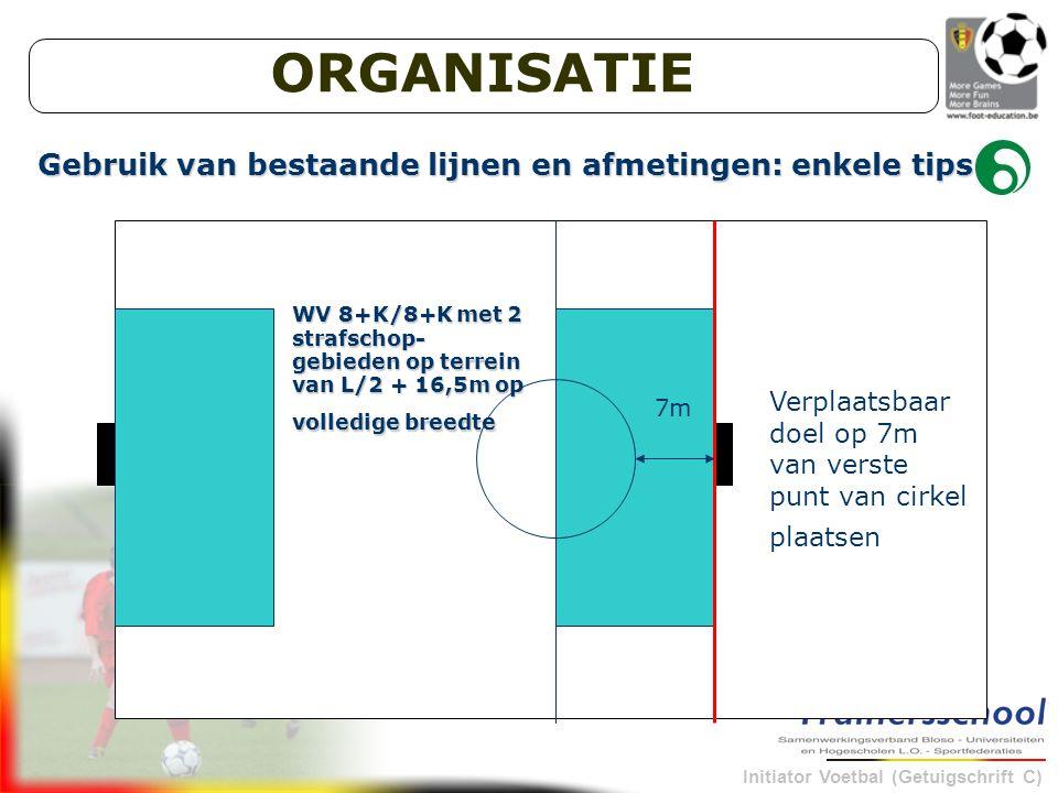 Initiator Voetbal (Getuigschrift C) Gebruik van bestaande lijnen en afmetingen: enkele tips WV 8+K/8+K met 2 strafschop- gebieden op terrein van L/2 + 16,5m op volledige breedte Verplaatsbaar doel op 7m van verste punt van cirkel plaatsen 7m ORGANISATIE