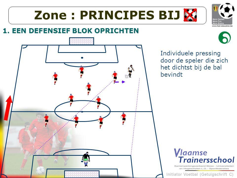 Initiator Voetbal (Getuigschrift C) thema uit doelstelling afleiden en verwoorden als spelprobleem Bepalen van de oplossing van het spelprobleem Keuze van de wedstrijdvormen i.f.v.