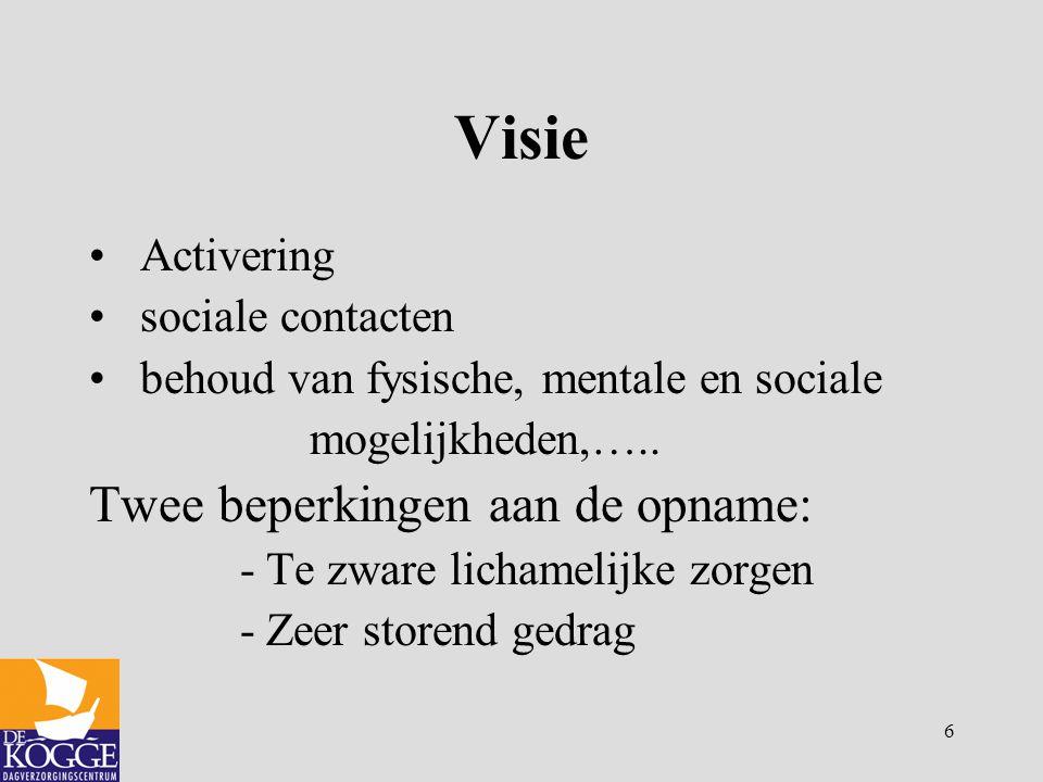 6 Visie Activering sociale contacten behoud van fysische, mentale en sociale mogelijkheden,….. Twee beperkingen aan de opname: - Te zware lichamelijke