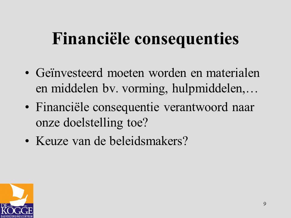 9 Financiële consequenties Geïnvesteerd moeten worden en materialen en middelen bv. vorming, hulpmiddelen,… Financiële consequentie verantwoord naar o