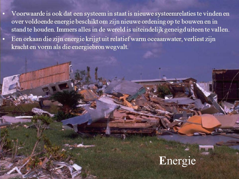 Energie Voorwaarde is ook dat een systeem in staat is nieuwe systeemrelaties te vinden en over voldoende energie beschikt om zijn nieuwe ordening op t