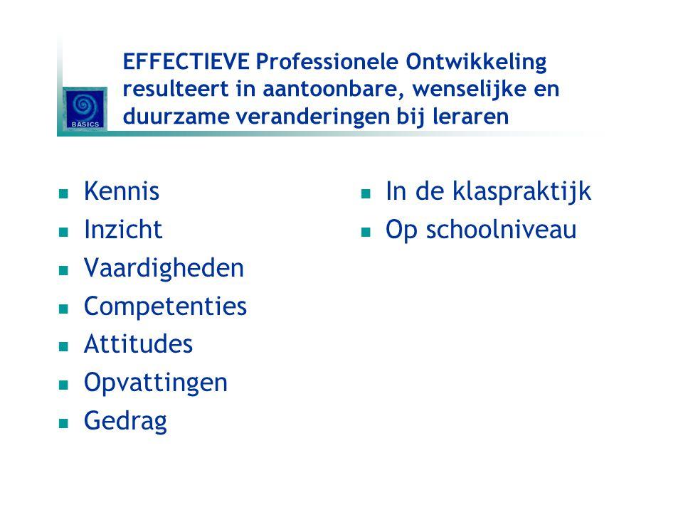 EFFECTIEVE Professionele Ontwikkeling resulteert in aantoonbare, wenselijke en duurzame veranderingen bij leraren Kennis Inzicht Vaardigheden Competen