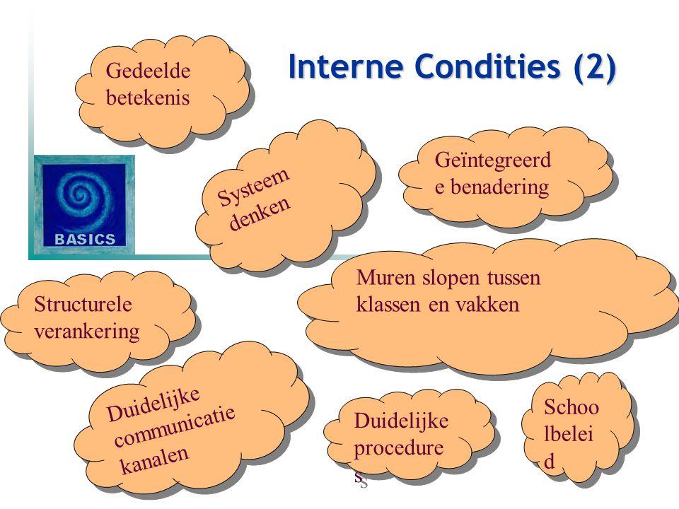 Interne Condities (2) Gedeelde betekenis Systeem denken Systeem denken Geïntegreerd e benadering Structurele verankering Muren slopen tussen klassen e
