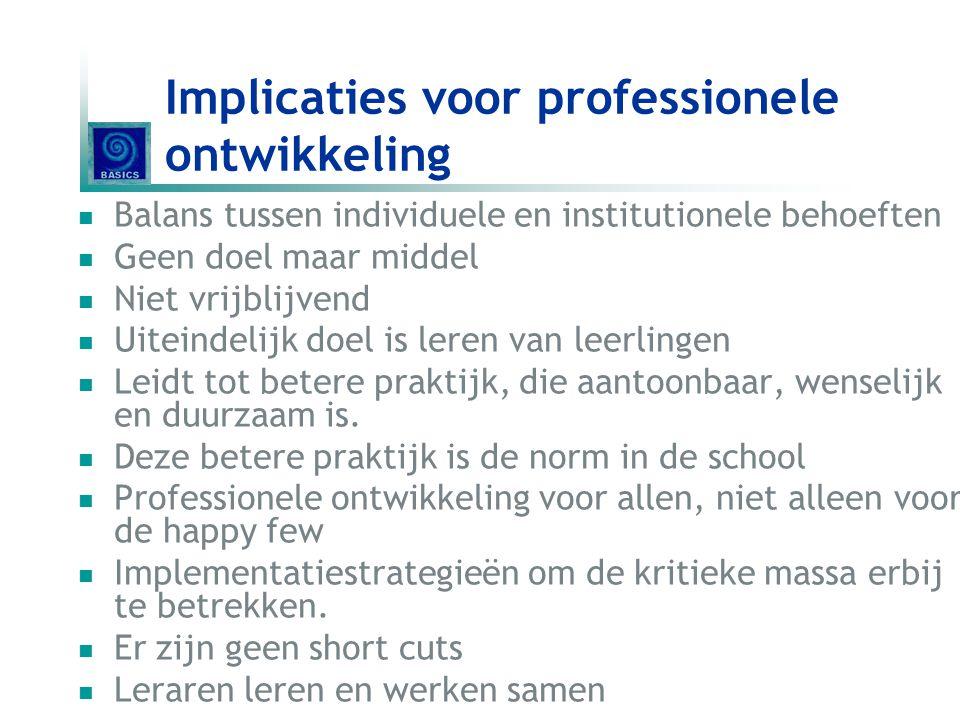 Implicaties voor professionele ontwikkeling Balans tussen individuele en institutionele behoeften Geen doel maar middel Niet vrijblijvend Uiteindelijk