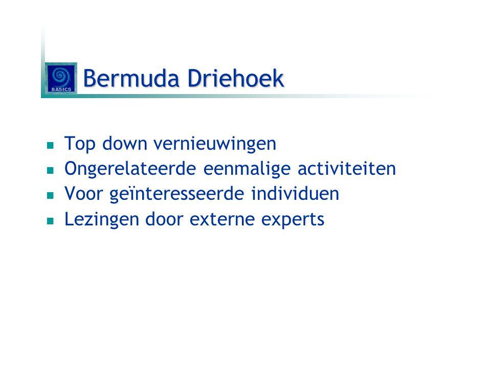 Bermuda Driehoek Top down vernieuwingen Ongerelateerde eenmalige activiteiten Voor geïnteresseerde individuen Lezingen door externe experts