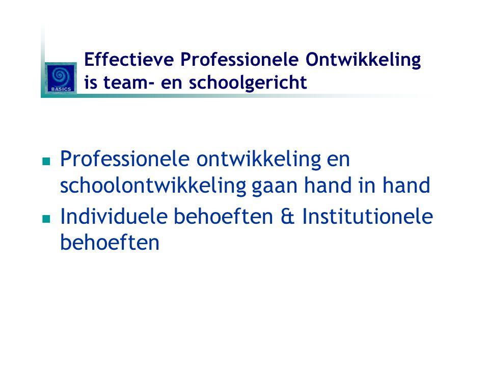 Effectieve Professionele Ontwikkeling is team- en schoolgericht Professionele ontwikkeling en schoolontwikkeling gaan hand in hand Individuele behoeft