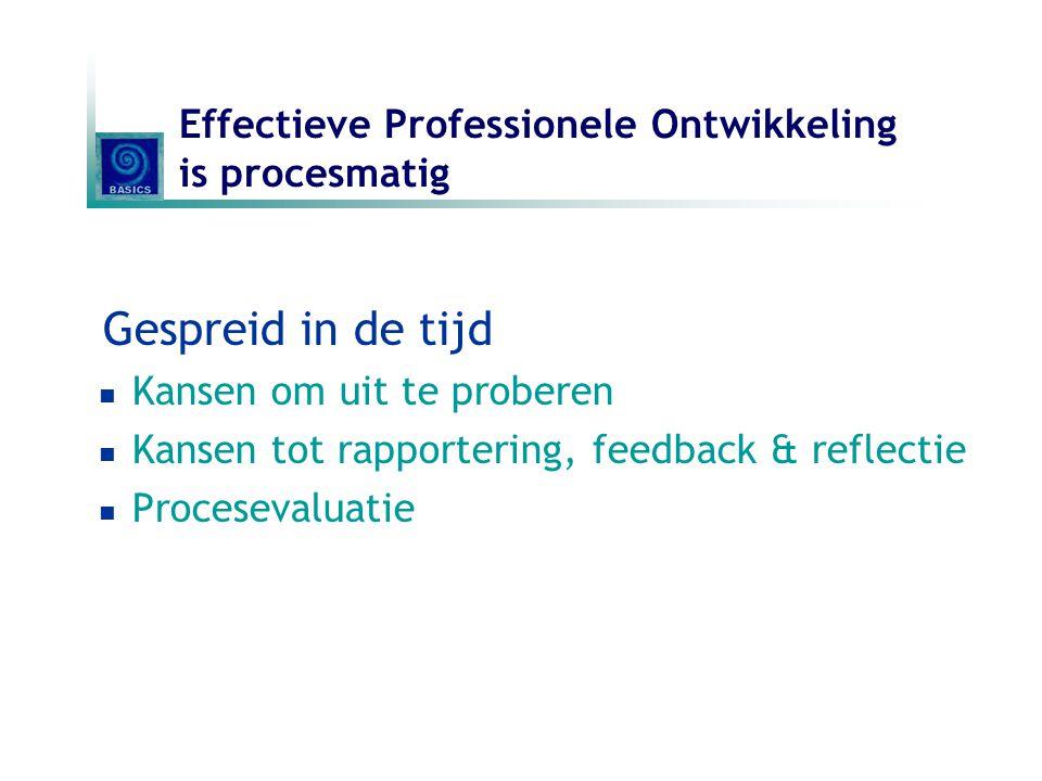 Effectieve Professionele Ontwikkeling is procesmatig Gespreid in de tijd Kansen om uit te proberen Kansen tot rapportering, feedback & reflectie Proce
