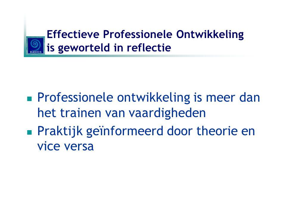 Effectieve Professionele Ontwikkeling is geworteld in reflectie Professionele ontwikkeling is meer dan het trainen van vaardigheden Praktijk geïnforme