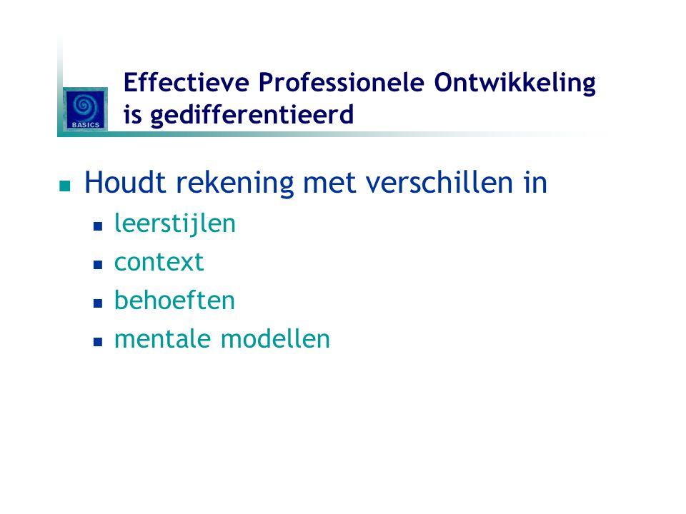 Effectieve Professionele Ontwikkeling is gedifferentieerd Houdt rekening met verschillen in leerstijlen context behoeften mentale modellen