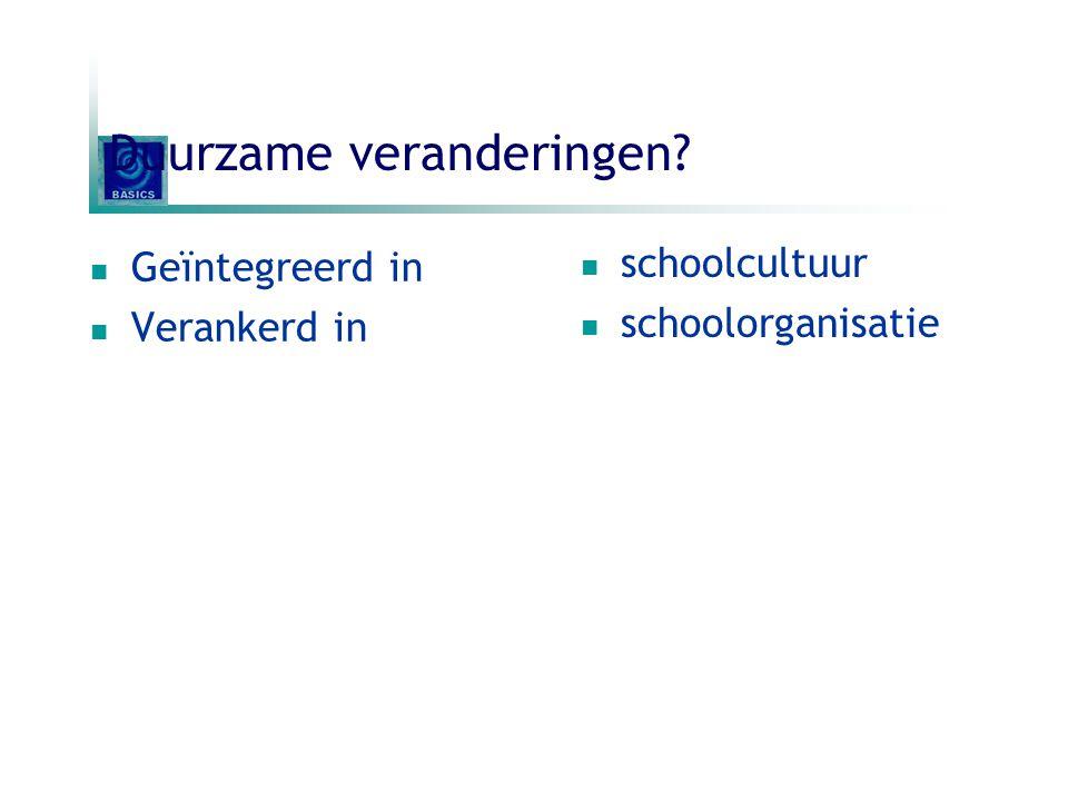 Duurzame veranderingen? Geïntegreerd in Verankerd in schoolcultuur schoolorganisatie