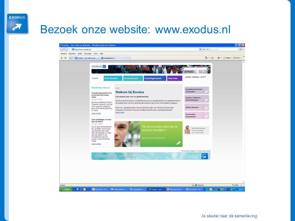 Je sleutel naar de samenleving Bezoek onze website: www.exodus.nl