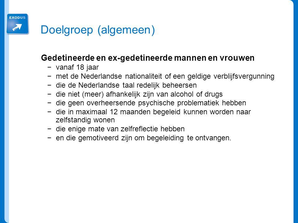 Doelgroep (algemeen) Gedetineerde en ex-gedetineerde mannen en vrouwen −vanaf 18 jaar −met de Nederlandse nationaliteit of een geldige verblijfsvergun