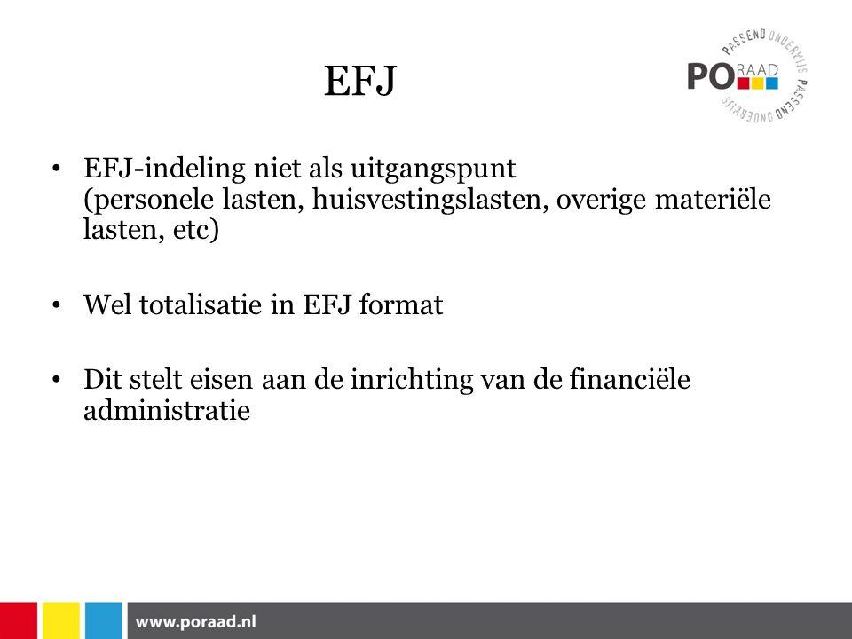 EFJ EFJ-indeling niet als uitgangspunt (personele lasten, huisvestingslasten, overige materiële lasten, etc) Wel totalisatie in EFJ format Dit stelt eisen aan de inrichting van de financiële administratie