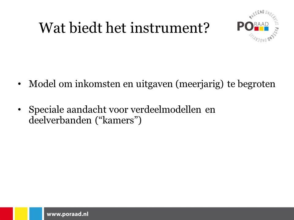 """Wat biedt het instrument? Model om inkomsten en uitgaven (meerjarig) te begroten Speciale aandacht voor verdeelmodellen en deelverbanden (""""kamers"""")"""