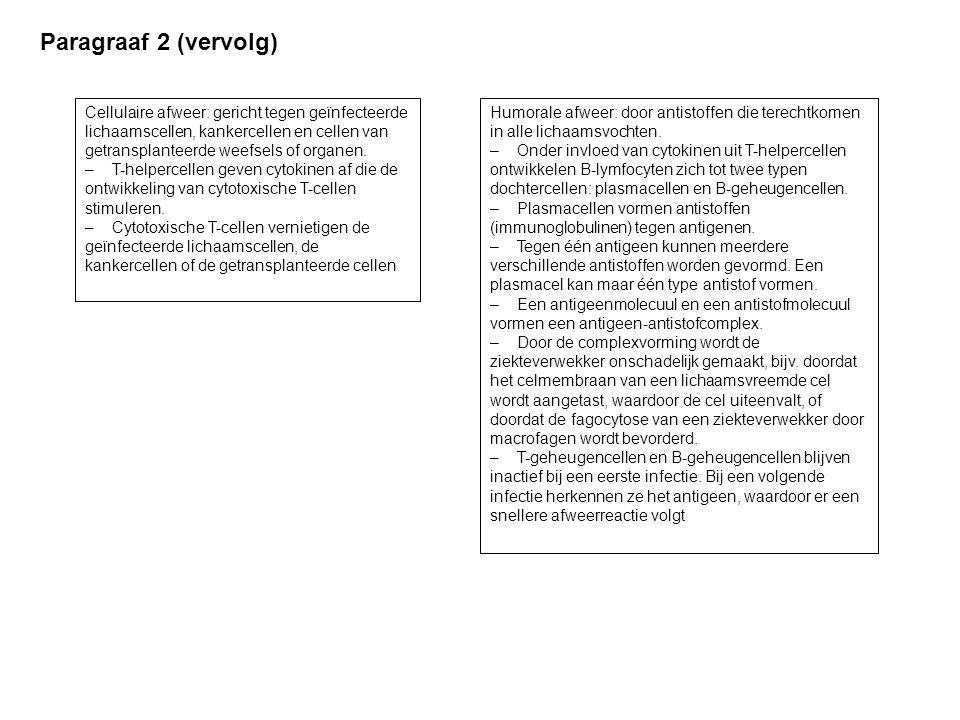 Paragraaf 2 (vervolg) Cellulaire afweer: gericht tegen geïnfecteerde lichaamscellen, kankercellen en cellen van getransplanteerde weefsels of organen.