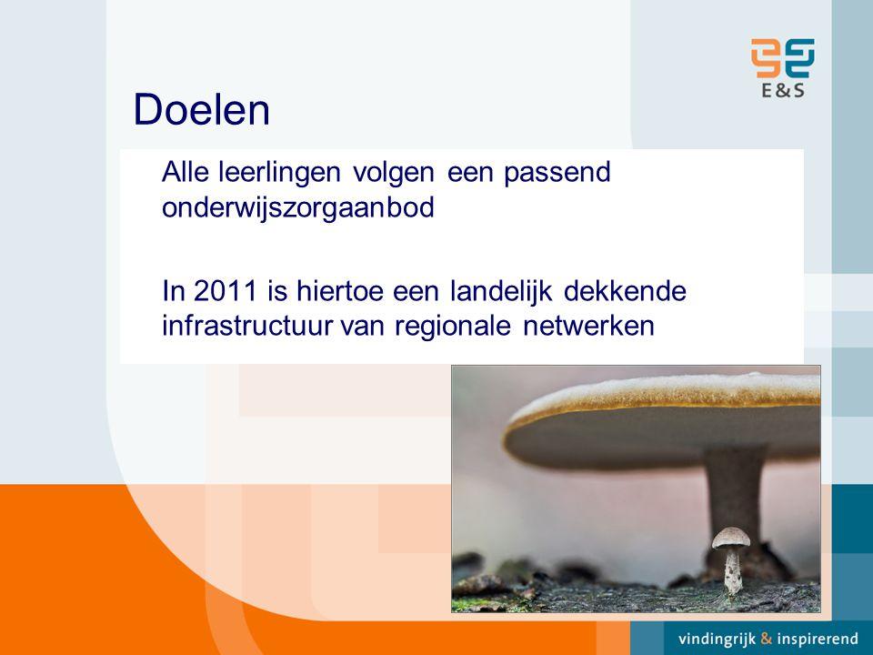 Doelen Alle leerlingen volgen een passend onderwijszorgaanbod In 2011 is hiertoe een landelijk dekkende infrastructuur van regionale netwerken