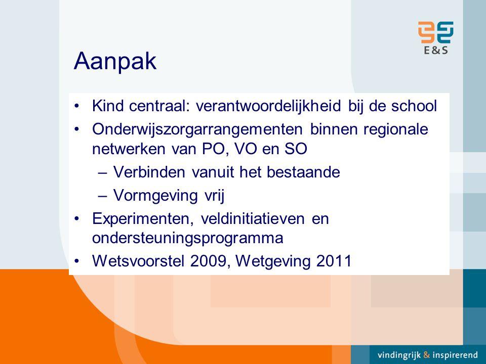 Aanpak Kind centraal: verantwoordelijkheid bij de school Onderwijszorgarrangementen binnen regionale netwerken van PO, VO en SO –Verbinden vanuit het