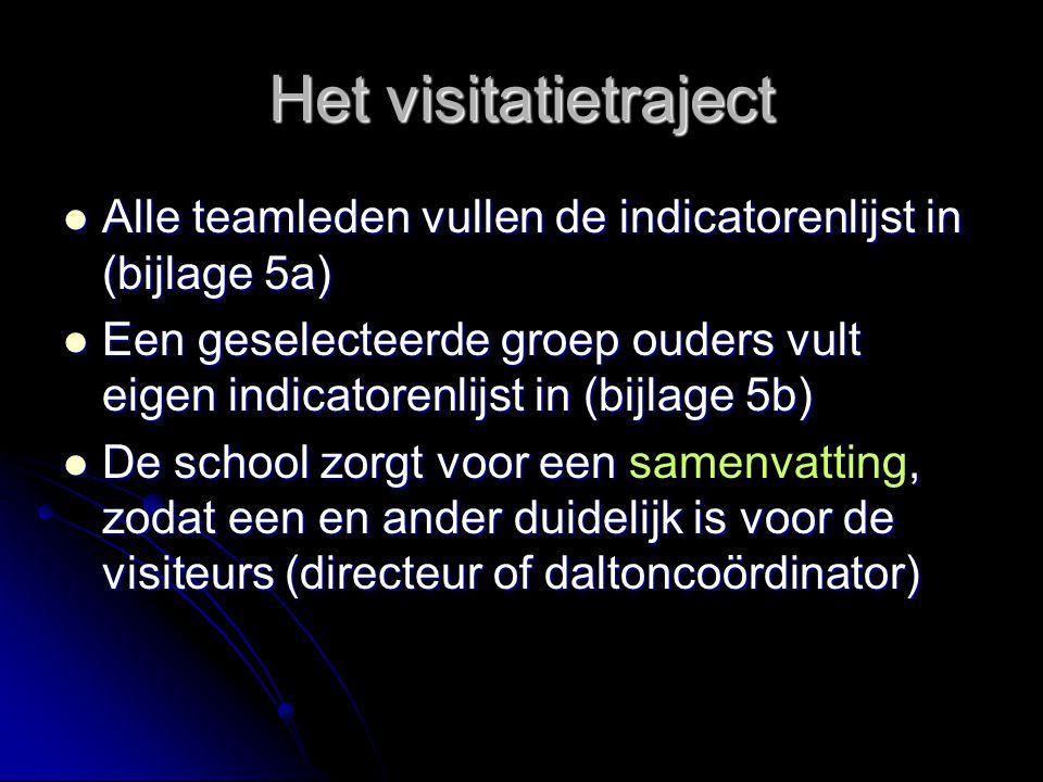 Het visitatietraject Alle teamleden vullen de indicatorenlijst in (bijlage 5a) Alle teamleden vullen de indicatorenlijst in (bijlage 5a) Een geselecte