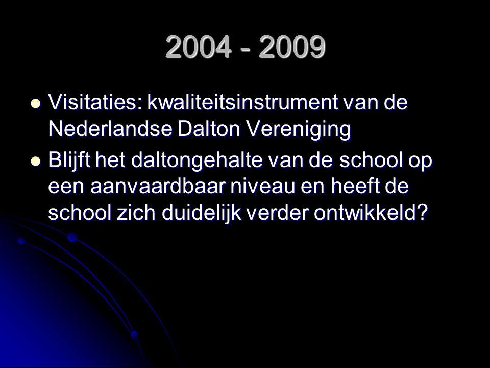 2004 - 2009 Visitaties: kwaliteitsinstrument van de Nederlandse Dalton Vereniging Visitaties: kwaliteitsinstrument van de Nederlandse Dalton Verenigin