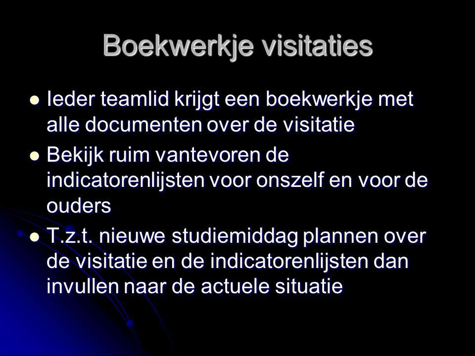 Boekwerkje visitaties Ieder teamlid krijgt een boekwerkje met alle documenten over de visitatie Ieder teamlid krijgt een boekwerkje met alle documente