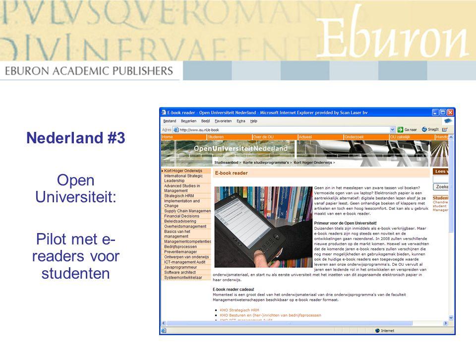 Nederland #3 Open Universiteit: Pilot met e- readers voor studenten