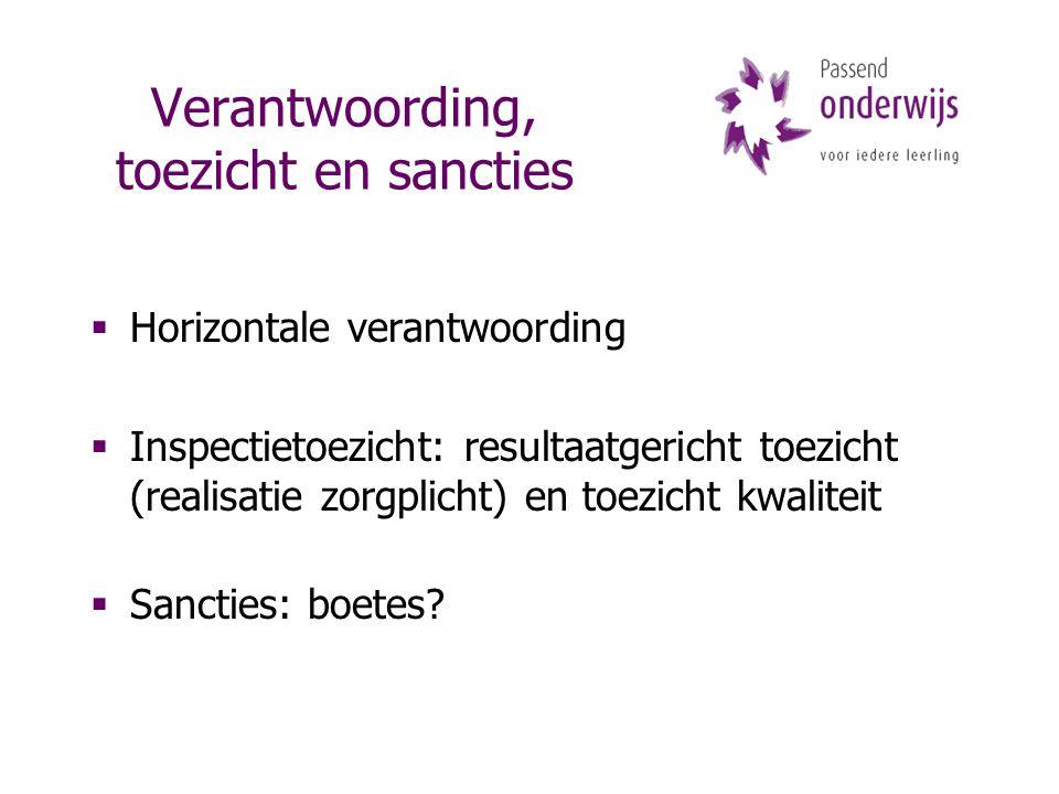 Verantwoording, toezicht en sancties  Horizontale verantwoording  Inspectietoezicht: resultaatgericht toezicht (realisatie zorgplicht) en toezicht kwaliteit  Sancties: boetes?