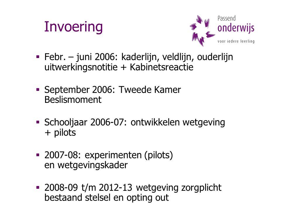 Invoering  Febr. – juni 2006: kaderlijn, veldlijn, ouderlijn uitwerkingsnotitie + Kabinetsreactie  September 2006: Tweede Kamer Beslismoment  Schoo